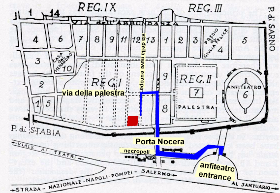 Location of the Garden of the Fugitives in Pompeii