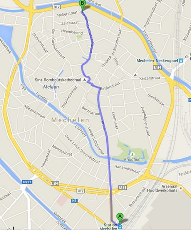 walking map of Mechelen Station to Kazerne Dossin