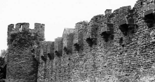 The row of latrines in the town walls of Conwy Castle