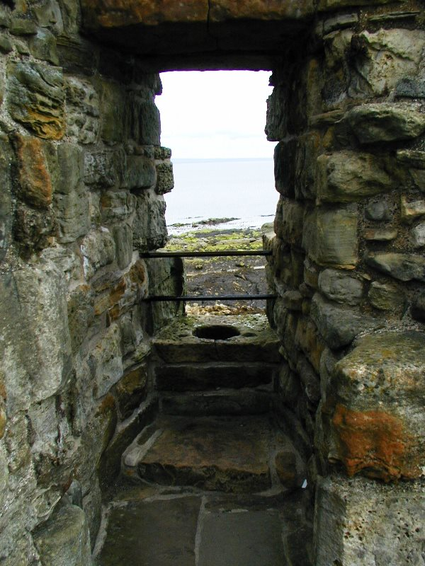 The windy toilet of St. Andrew's Castle in Scotland